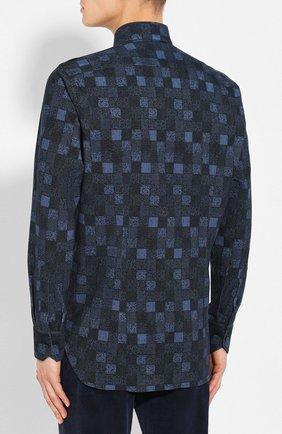 Мужская хлопковая рубашка ZILLI темно-синего цвета, арт. MFS-MERCU-39002/RZ01 | Фото 4