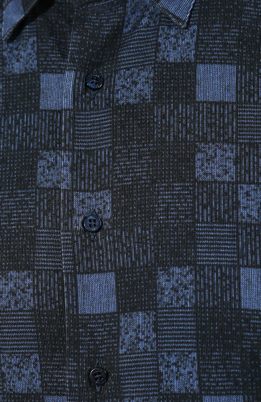 Мужская хлопковая рубашка ZILLI темно-синего цвета, арт. MFS-MERCU-39002/RZ01 | Фото 5