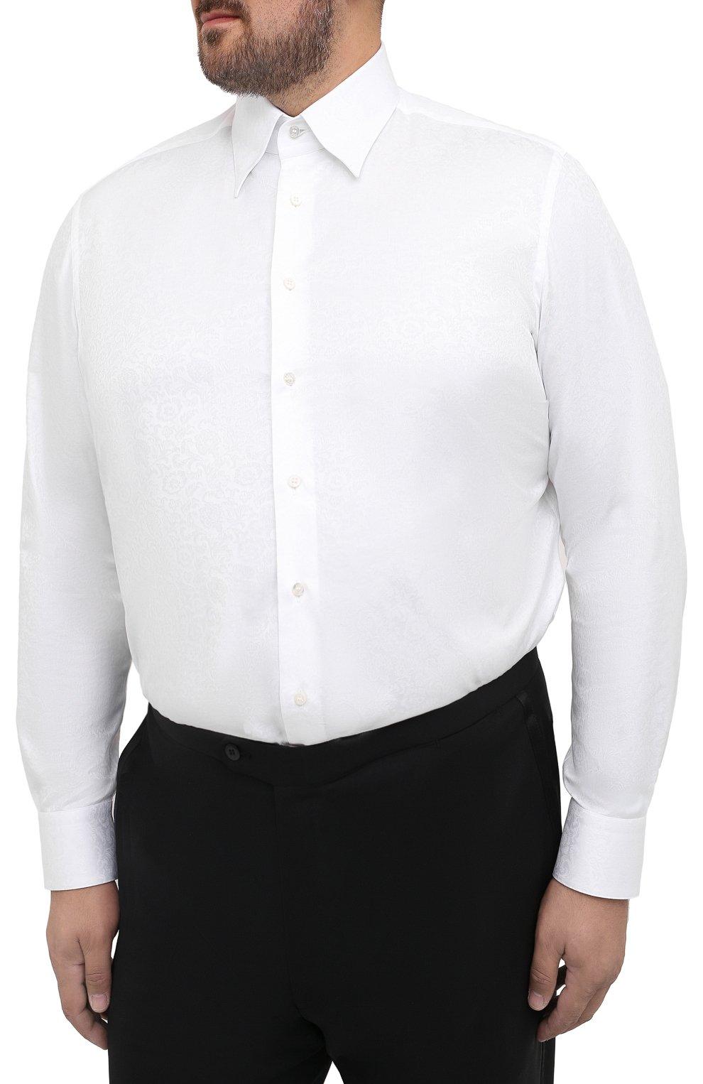 Мужская хлопковая сорочка ZILLI белого цвета, арт. MFS-MERCU-04211/RZ01 | Фото 3
