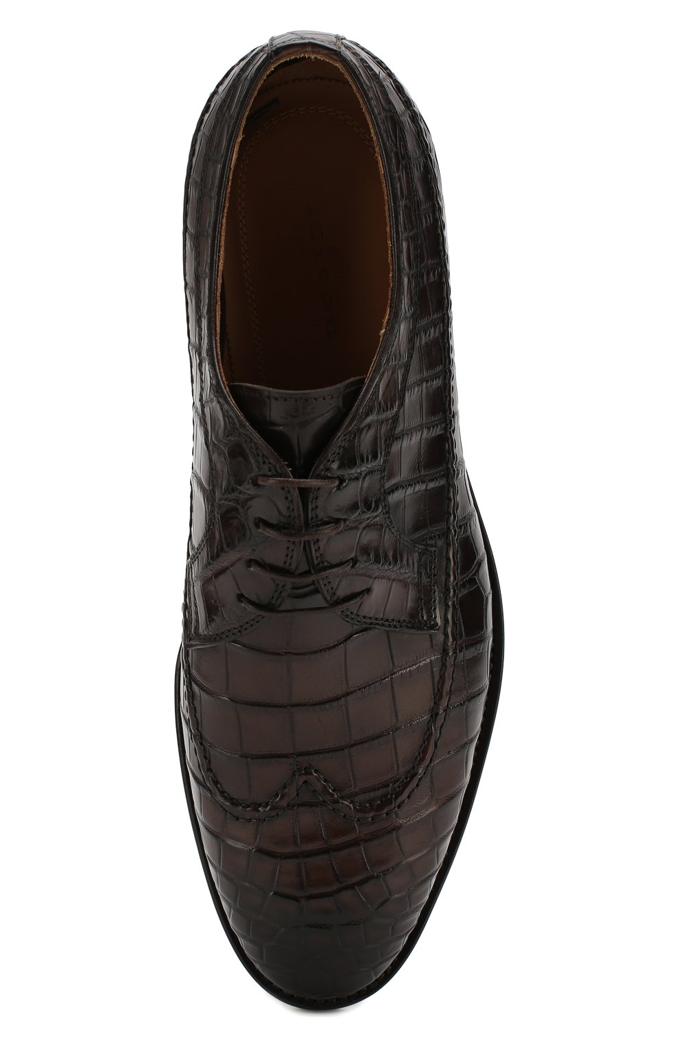Мужские дерби из кожи крокодила KITON темно-коричневого цвета, арт. USSBIDAN00102/CNIL | Фото 5
