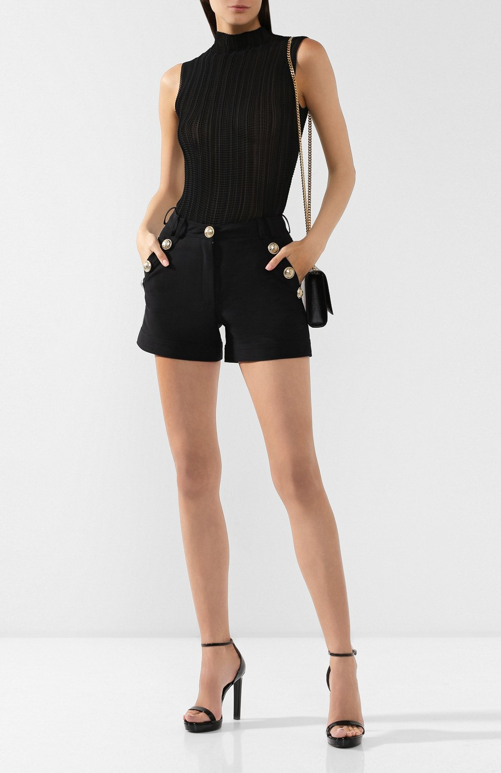 Женские хлопковые шорты BALMAIN черного цвета, арт. SF15015/C160 | Фото 2