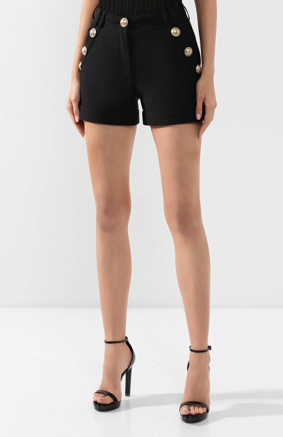Женские хлопковые шорты BALMAIN черного цвета, арт. SF15015/C160 | Фото 3