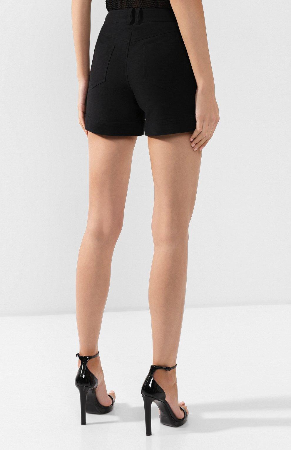 Женские хлопковые шорты BALMAIN черного цвета, арт. SF15015/C160 | Фото 4