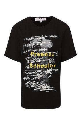 Женская хлопковая футболка PROENZA SCHOULER черно-белого цвета, арт. WL1934098-JCP110 | Фото 1