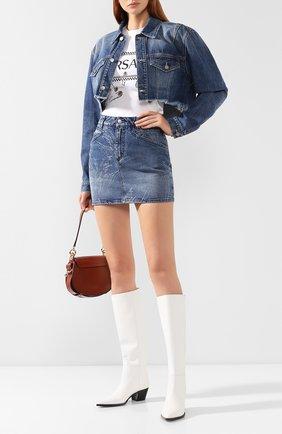 Женская джинсовая юбка GIVENCHY синего цвета, арт. BW40AK50AH | Фото 2