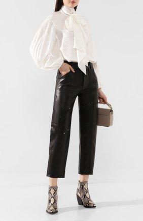 Женские кожаные брюки CHLOÉ черного цвета, арт. CHC19ACP42202 | Фото 2