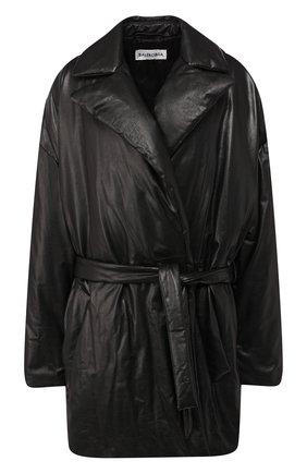 Женское кожаное пальто BALENCIAGA черного цвета, арт. 583549/TFS06 | Фото 1