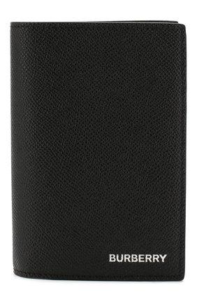 Мужская кожаная обложка для паспорта BURBERRY черного цвета, арт. 8014679 | Фото 1