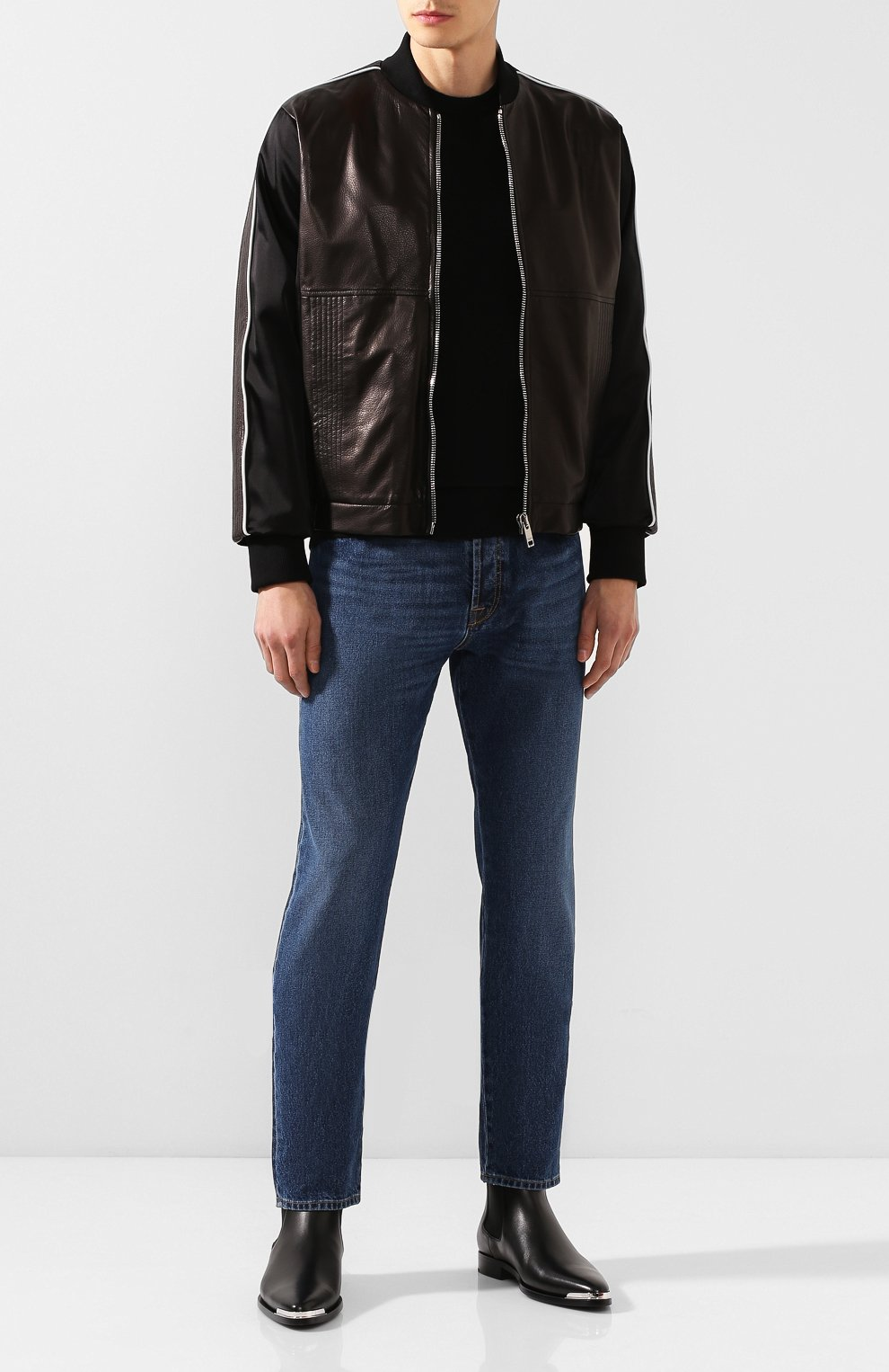 Кожаный бомбер Givenchy черная   Фото №2