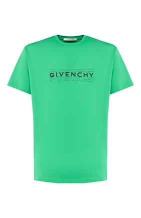 Хлопковая футболка Givenchy зеленая   Фото №1