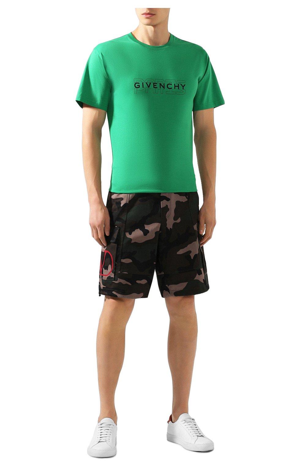 Хлопковая футболка Givenchy зеленая   Фото №2