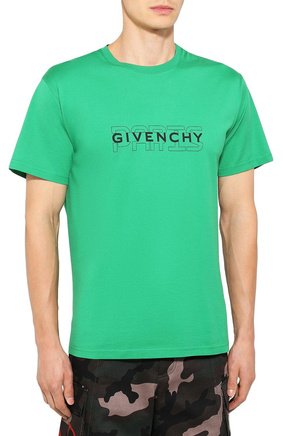 Хлопковая футболка Givenchy зеленая   Фото №3