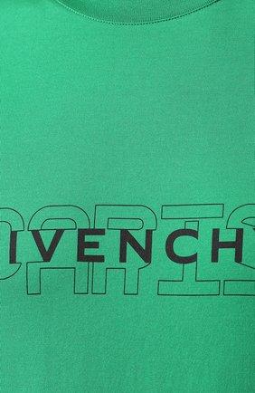 Хлопковая футболка Givenchy зеленая   Фото №5