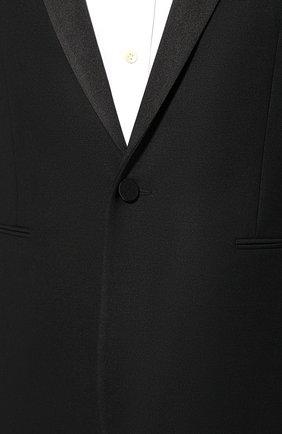 Мужской шерстяной пиджак SAINT LAURENT черного цвета, арт. 564671/Y029V   Фото 5 (Материал внешний: Шерсть; Рукава: Длинные; Длина (для топов): Стандартные; Стили: Классический; 1-2-бортные: Однобортные; Пиджаки М: Прямой; Статус проверки: Проверено; Материал подклада: Шелк)
