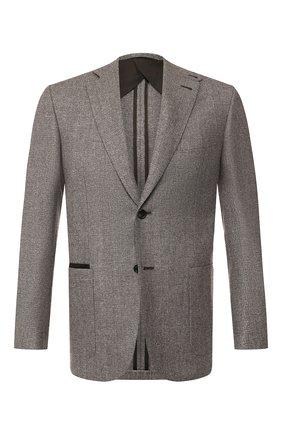 Мужской пиджак из смеси шерсти и шелка BRIONI серого цвета, арт. RGK20M/08A5V/CARTESI0 | Фото 1