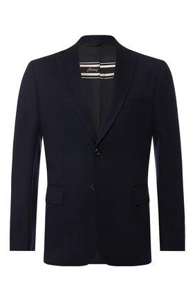 Мужской шерстяной пиджак BRIONI темно-синего цвета, арт. UJBD0L/08631 | Фото 1