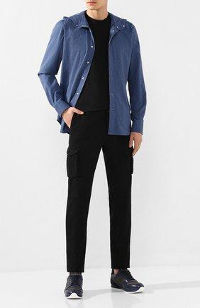 Мужские хлопковые брюки-карго KITON черного цвета, арт. UFPPCAJ03S69   Фото 2