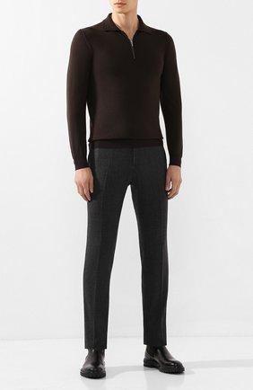 Мужское поло из кашемира и шелка KITON темно-коричневого цвета, арт. UK05Z   Фото 2