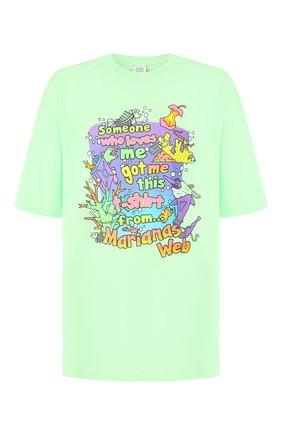 Мужская хлопковая футболка VETEMENTS зеленого цвета, арт. MAH20TR018 | Фото 1