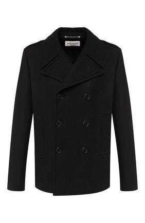 Мужской шерстяное пальто SAINT LAURENT черного цвета, арт. 587713/Y060W | Фото 1