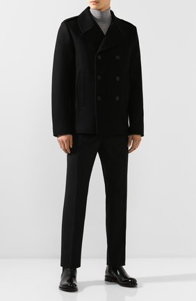 Мужской шерстяное пальто SAINT LAURENT черного цвета, арт. 587713/Y060W | Фото 2