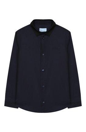 Детская хлопковая рубашка LANVIN синего цвета, арт. 4L5010/LD280/10-14 | Фото 1