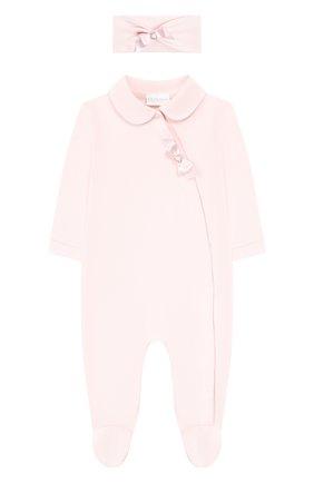 Детский комплект из комбинезона и повязки на голову LA PERLA розового цвета, арт. 48545 | Фото 1