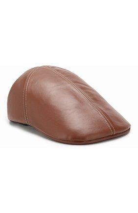 Женская кожаная кепка BURBERRY коричневого цвета, арт. 8016341 | Фото 1