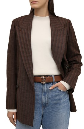 Женский кожаный ремень BURBERRY коричневого цвета, арт. 8011701 | Фото 2 (Статус проверки: Проверена категория)