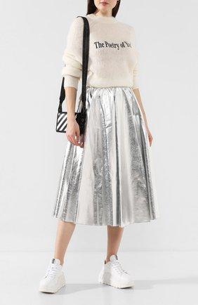 Женская юбка MSGM серебряного цвета, арт. 2741MDD19 195616 | Фото 2