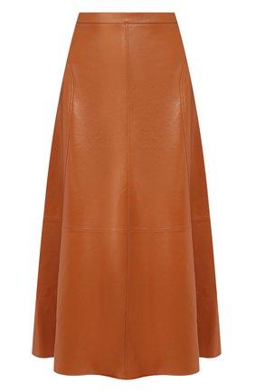 Женская кожаная юбка LORO PIANA коричневого цвета, арт. FAI7586 | Фото 1