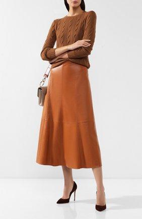 Женская кожаная юбка LORO PIANA коричневого цвета, арт. FAI7586 | Фото 2