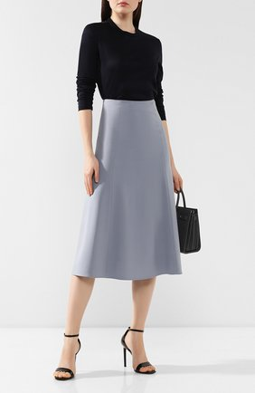Женская юбка из смеси шелка и шерсти LORO PIANA голубого цвета, арт. FAI8557 | Фото 2
