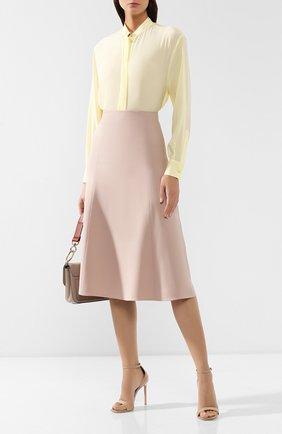 Женская юбка из смеси шелка и шерсти LORO PIANA светло-розового цвета, арт. FAI8557   Фото 2