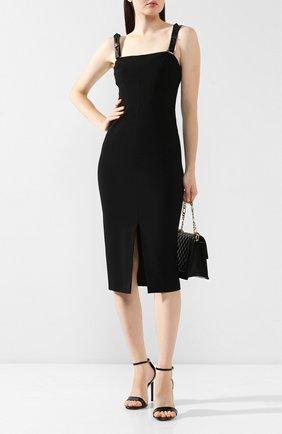 Женское платье TOM FORD черного цвета, арт. ABJ353-FAX021 | Фото 2 (Материал подклада: Шелк; Длина Ж (юбки, платья, шорты): До колена; Рукава: Без рукавов; Случай: Формальный)