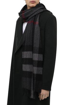 Мужской кашемировый шарф BURBERRY серого цвета, арт. 8015551 | Фото 2