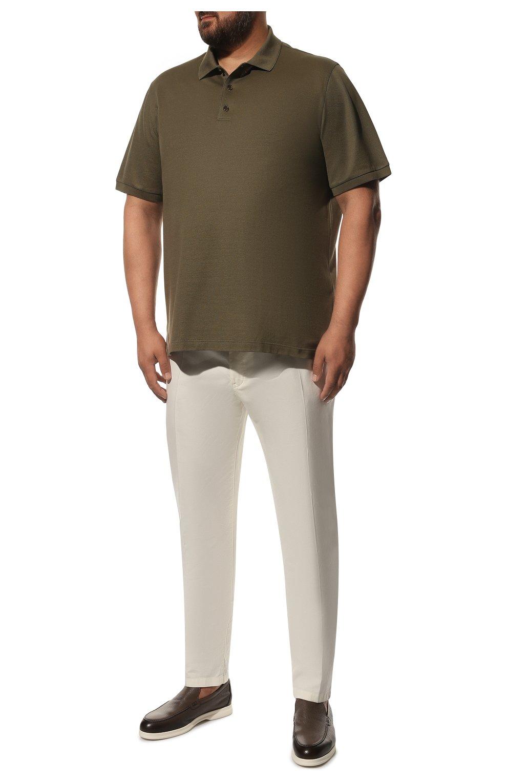 Мужские хлопковые брюки LORO PIANA белого цвета, арт. FAE8346 | Фото 2