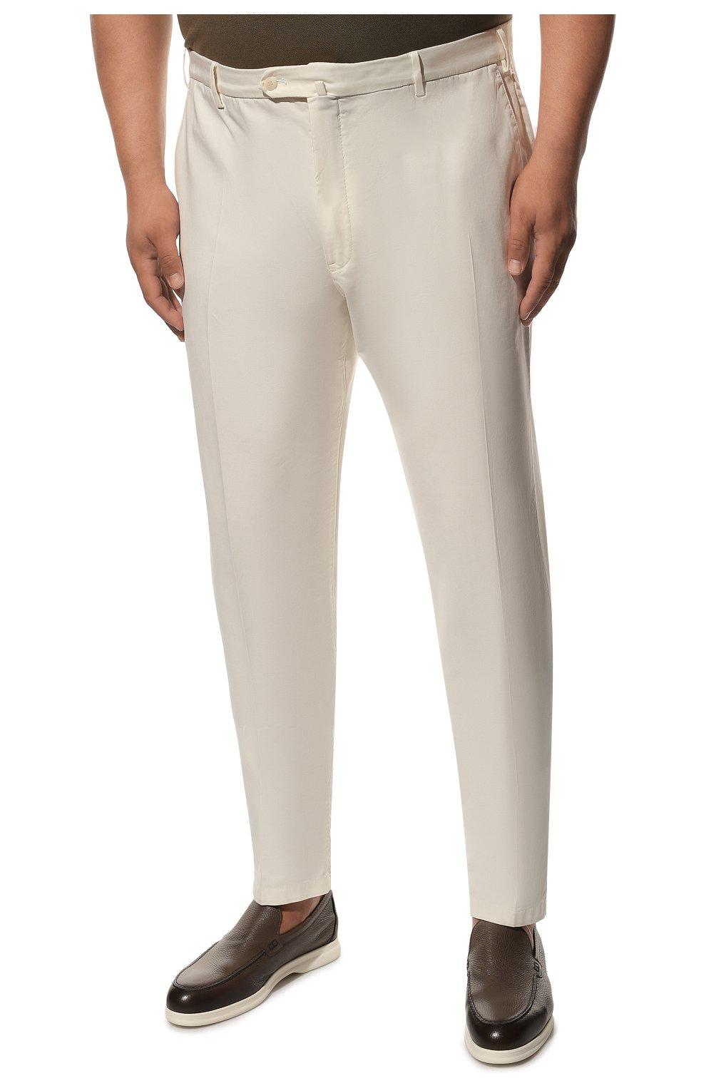 Мужские хлопковые брюки LORO PIANA белого цвета, арт. FAE8346 | Фото 3