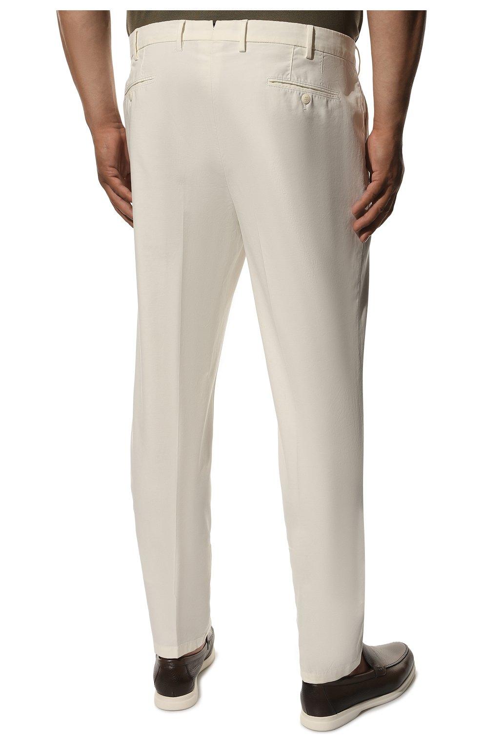 Мужские хлопковые брюки LORO PIANA белого цвета, арт. FAE8346 | Фото 4