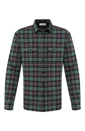 Мужская хлопковая рубашка SAINT LAURENT зеленого цвета, арт. 584510/Y521V | Фото 1