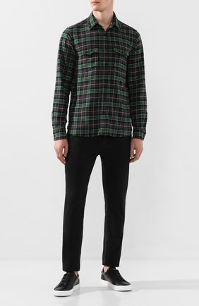 Мужская хлопковая рубашка SAINT LAURENT зеленого цвета, арт. 584510/Y521V | Фото 2