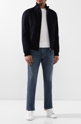 Мужской кашемировый бомбер ANDREA CAMPAGNA темно-синего цвета, арт. 10600H9JD2900 | Фото 2 (Материал подклада: Шелк; Материал внешний: Шерсть; Длина (верхняя одежда): Короткие; Рукава: Длинные; Принт: Без принта; Мужское Кросс-КТ: Верхняя одежда; Кросс-КТ: Куртка; Стили: Кэжуэл)