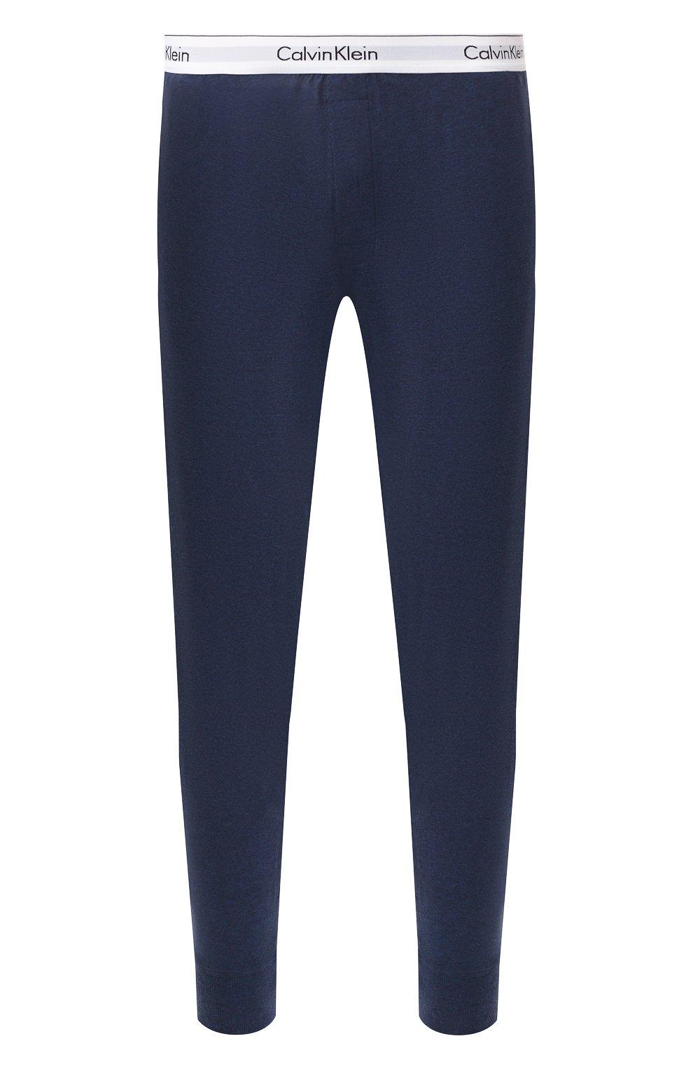 Мужские хлопковые домашние брюки CALVIN KLEIN синего цвета, арт. NM1582E | Фото 1