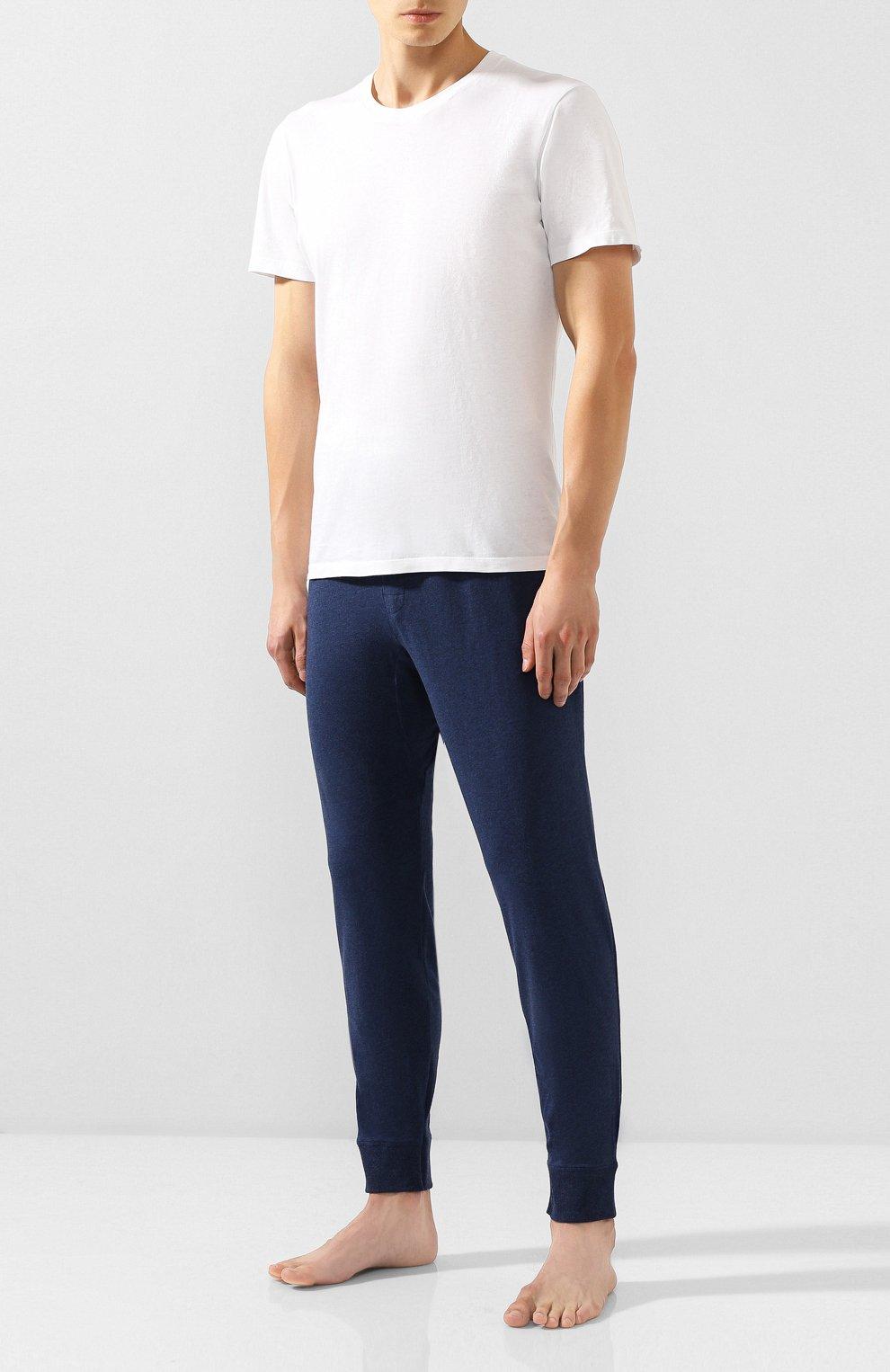 Мужские хлопковые домашние брюки CALVIN KLEIN синего цвета, арт. NM1582E | Фото 2