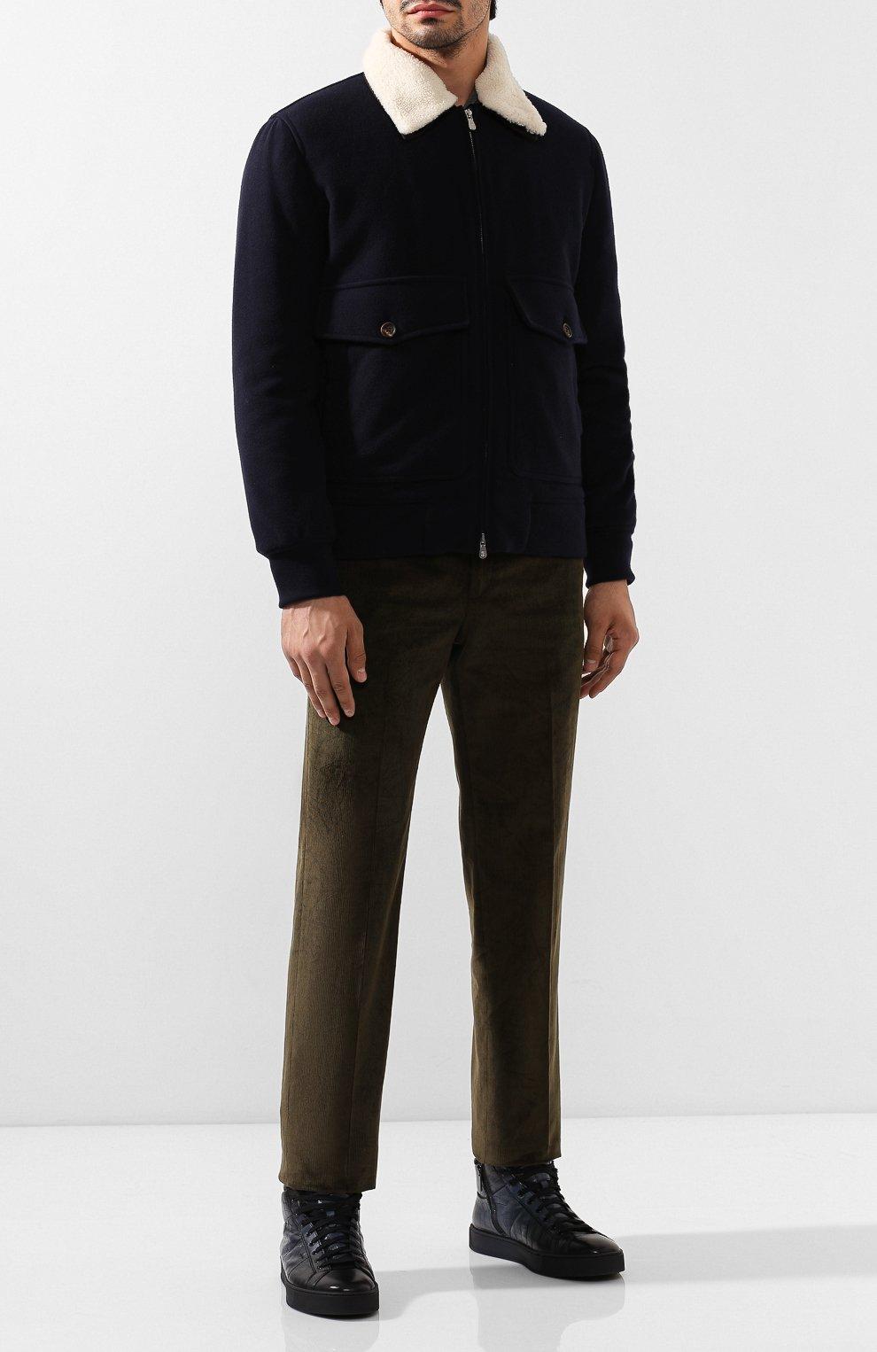 Мужские кожаные кеды SANTONI темно-синего цвета, арт. MBGL208700CNP0CCU60 | Фото 2