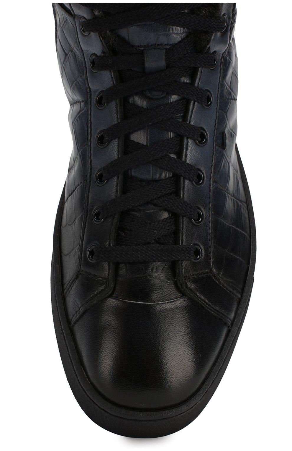 Мужские кожаные кеды SANTONI темно-синего цвета, арт. MBGL208700CNP0CCU60 | Фото 5
