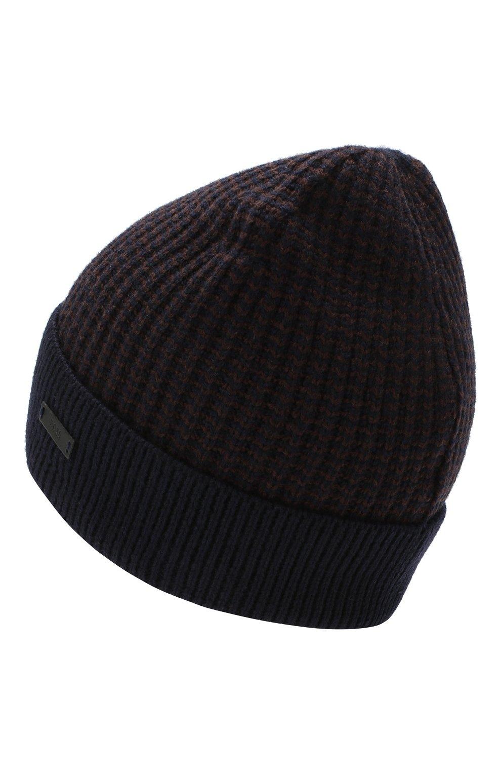 Мужская шерстяная шапка BOSS темно-синего цвета, арт. 50416291 | Фото 2