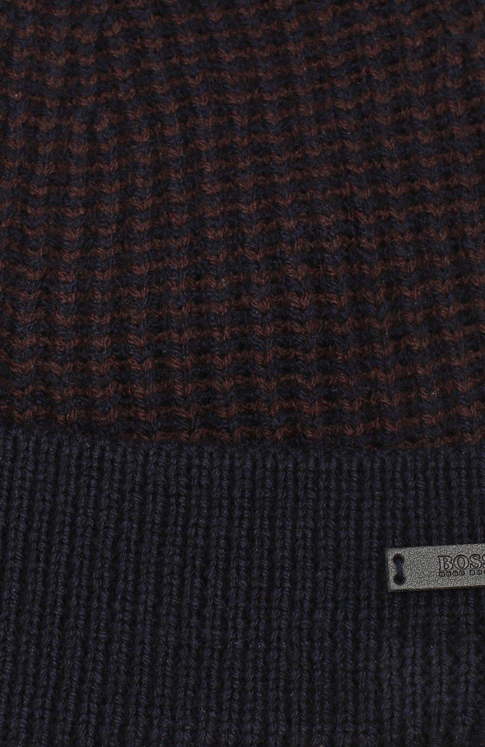 Мужская шерстяная шапка BOSS темно-синего цвета, арт. 50416291 | Фото 3