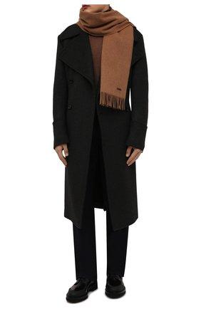 Мужской шерстяной шарф BOSS бежевого цвета, арт. 50415073   Фото 2