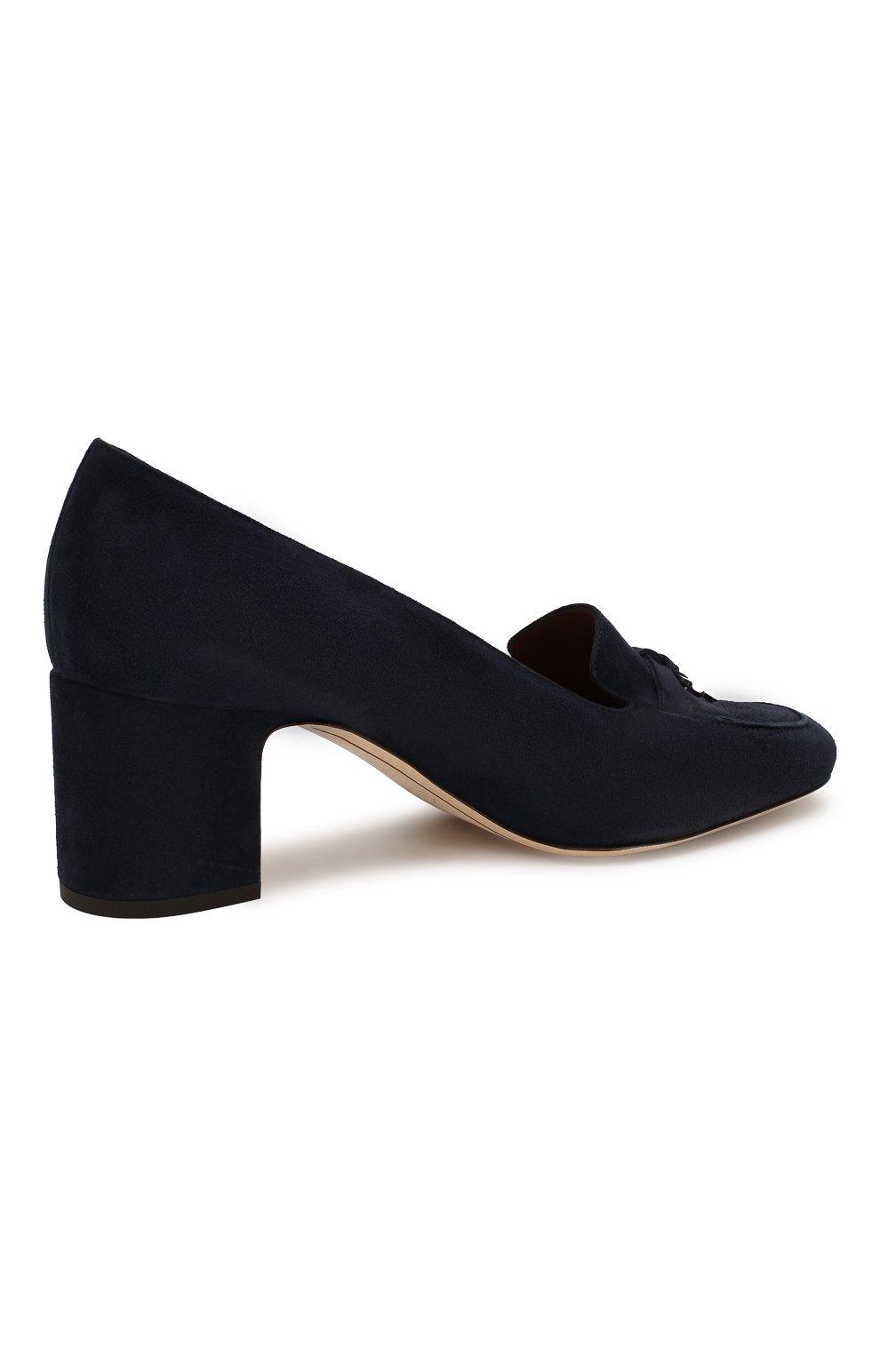 Женские замшевые туфли summer charms LORO PIANA темно-синего цвета, арт. FAI7081 | Фото 4